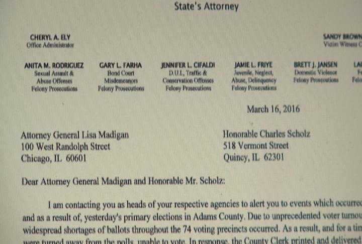 The letter State's Attorney Jon Barnard sent to the Attorney General and Chair of State Board of Elections.