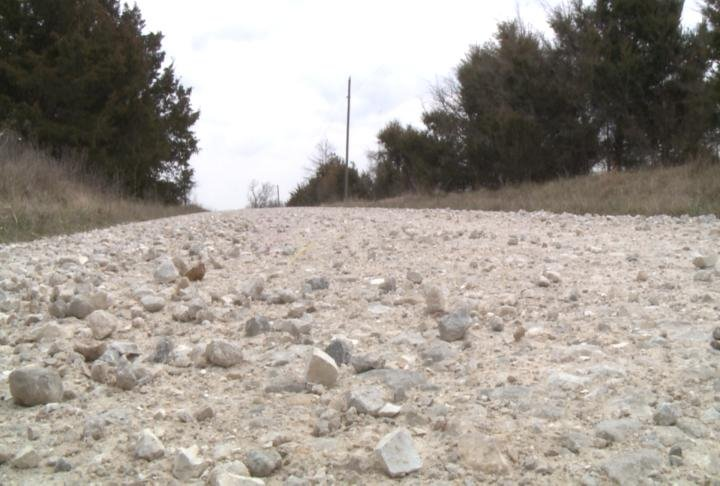 Gravel sits on a road in Shelby County, Missouri.