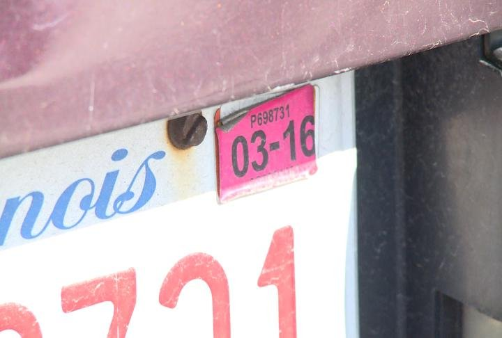 Late sticker on Illinois license plate.