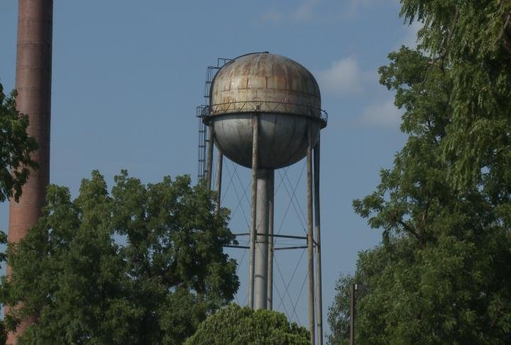 Water tower stands at the Illinois Veterans Home.