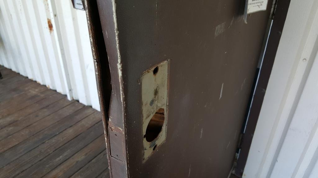 Damage door at South Side Boat Club after the business was broken into over the weekend.