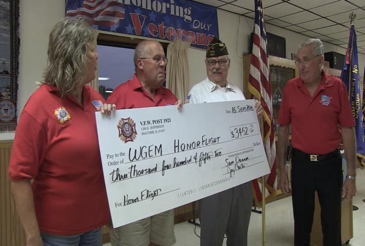 VFW post 1921 donates two checks to Honor Flight