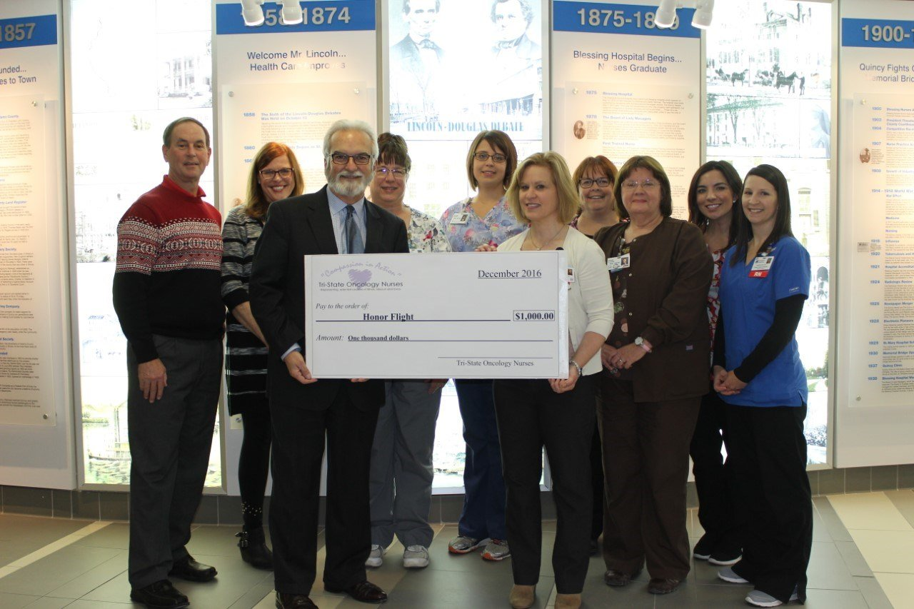 Tri-State oncology nurses donate $1,000 to the Great River Honor Flight