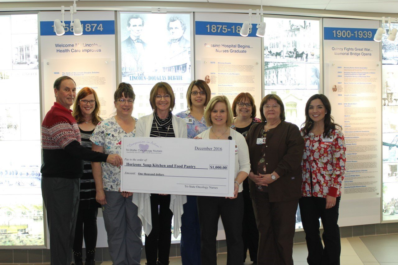 Tri-State oncology nurses donate $1,000 to Horizons food pantry.