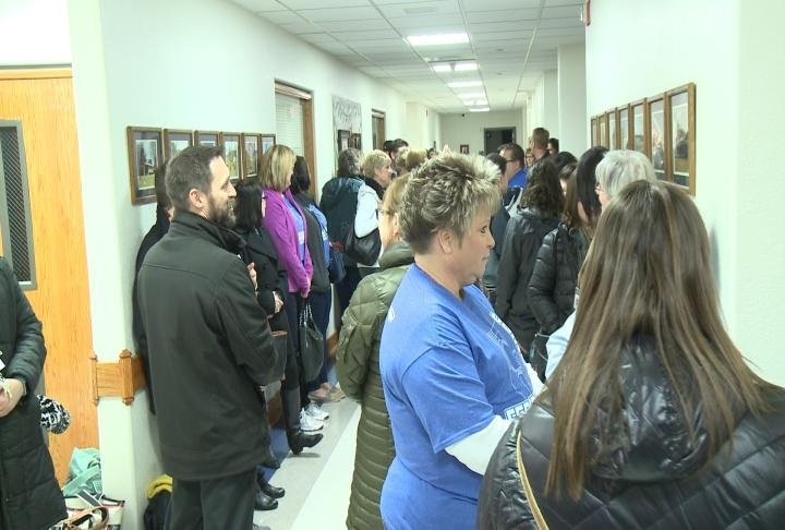 Lots of supporters for Quincy Federation came out to the Board of Education office before negotiations started.