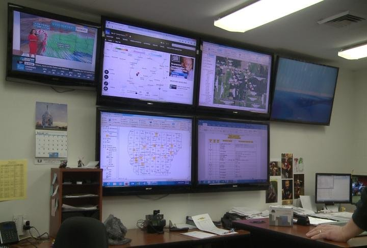 "The ""war room"" at Adams Electric Cooperative is where they monitor conditions"