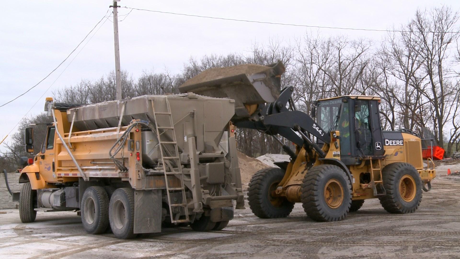 Road crews prepare for weekend storm.