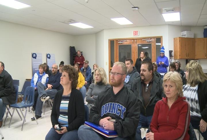 Quincy Federation members came out to hear the joint statement.