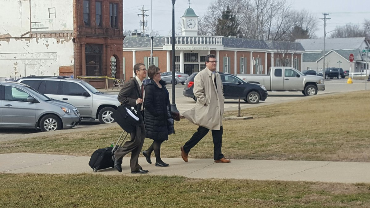 Lovelace's defense team arriving at the Cass County Courthouse on Tuesday.
