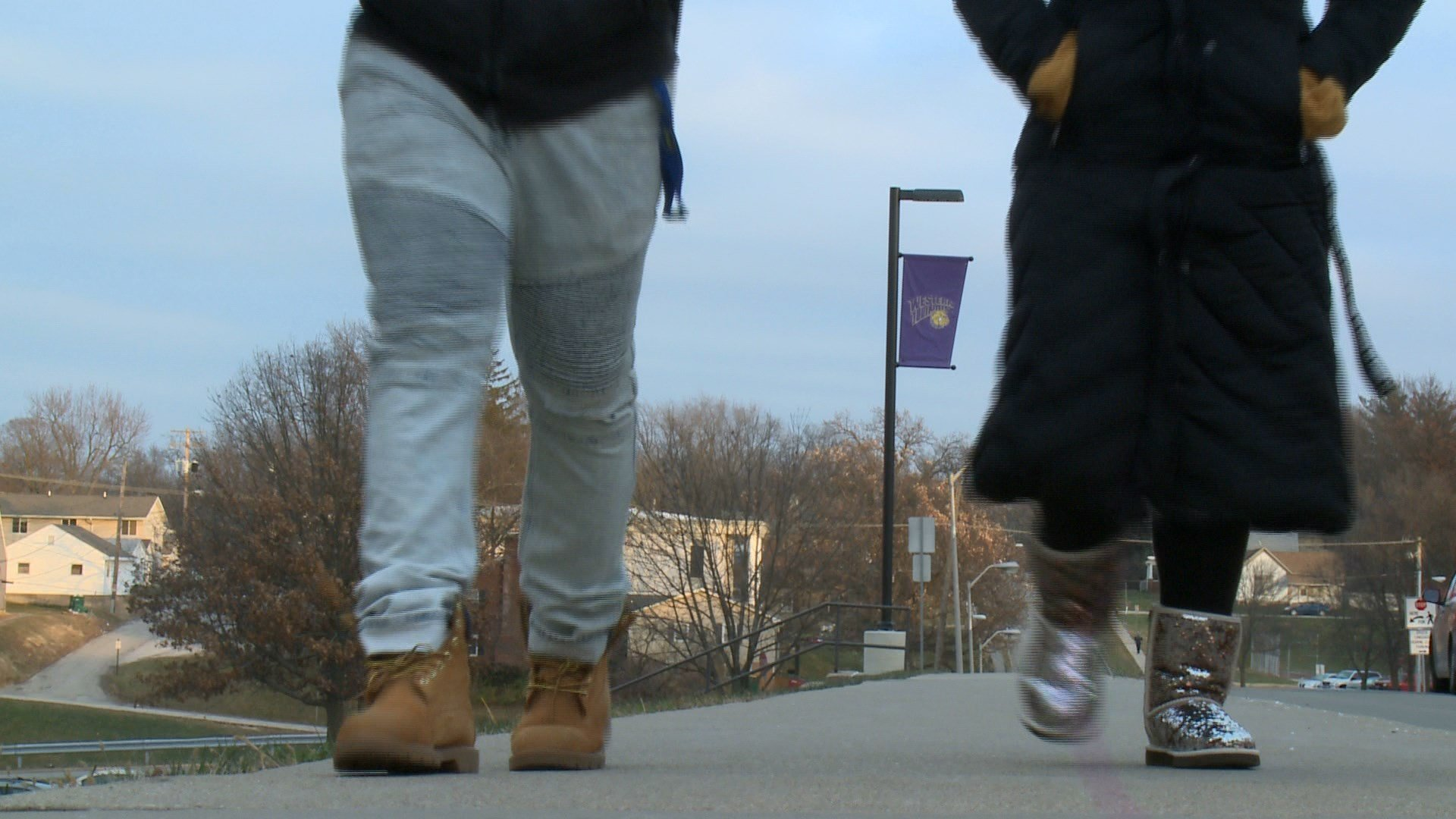 Students walking on the WIU campus in Macomb.