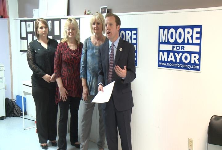 Quincy Mayor Kyle Moore unveils his plan to revitalize city neighborhoods during a press conference Thursday.