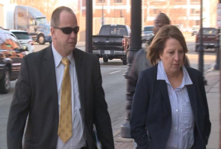 Detective Adam Gibson and Lt. Dina Dreyer, both with the Quincy Police Department, arrive at the courthouse.