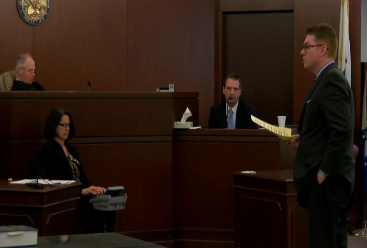 Prosecutor David Robinson asking Curtis Lovelace questions Thursday.