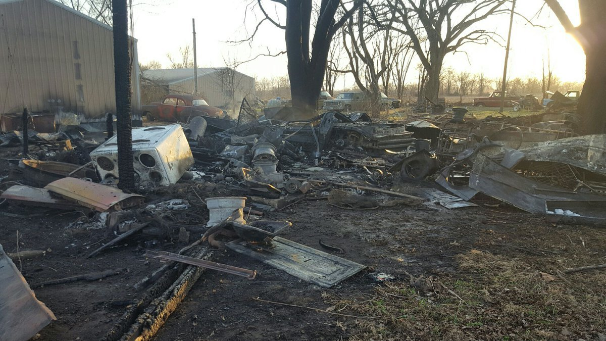 The remains of a garage that caught fire Monday evening in Shelbina, Missouri.