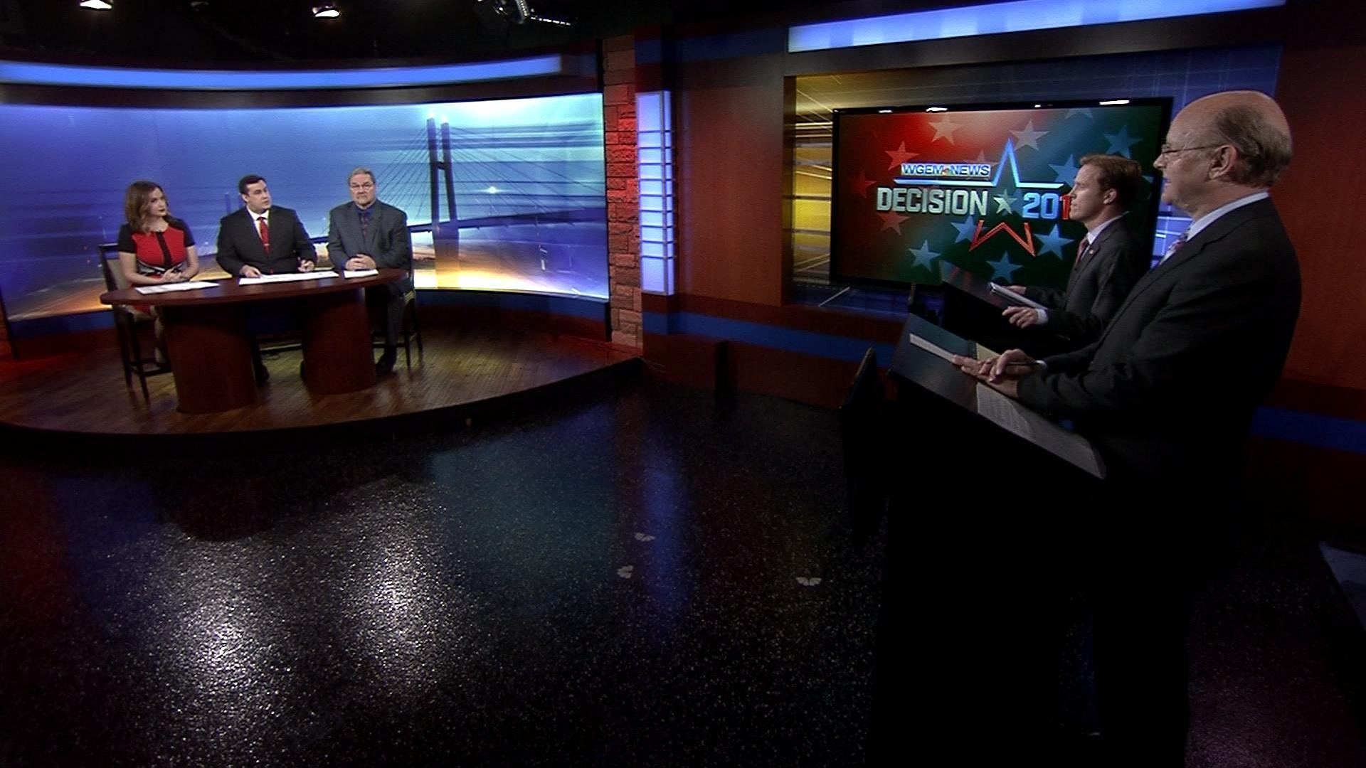 Independent Jeff VanCamp debates Republican Incumbant Kyle Moore in a Quincy mayoral debate at WGEM. They took questions from WGEM's Gene Kennedy, Alexandra Carter and Doug Wilson with our partners with the Herald-Whig