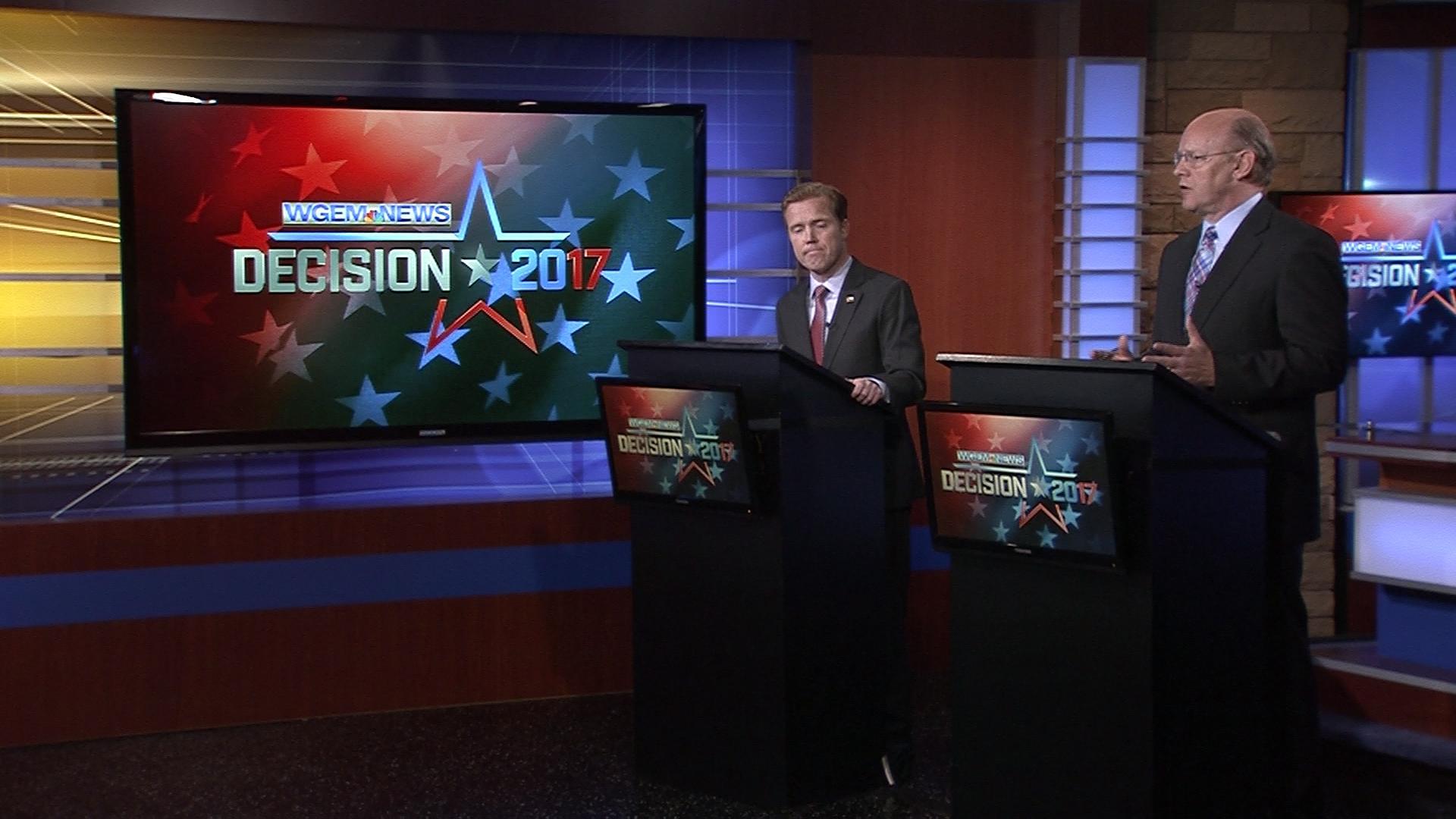Incumbant Mayor Kyle Moore and challenger Jeff VanCamp debate at the WGEM studios.