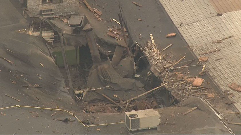 Collapsed portion of building in Soulard. (KSDK)
