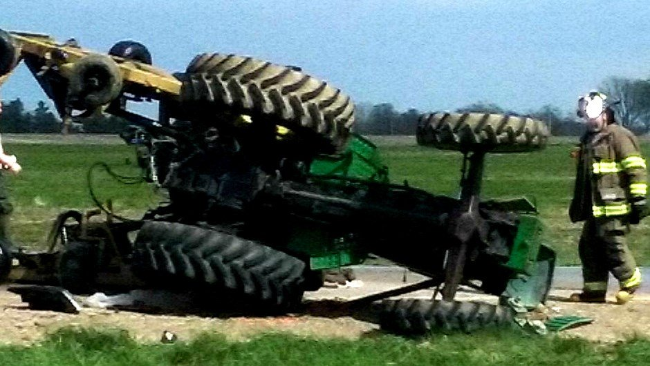 Damage tractor after Friday's crash. (Submitted photo)