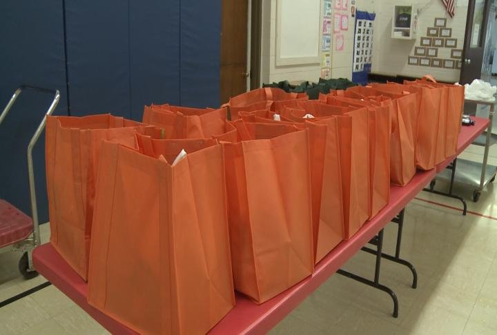 The district has used a program that sends bags of food home with students on the weekends.