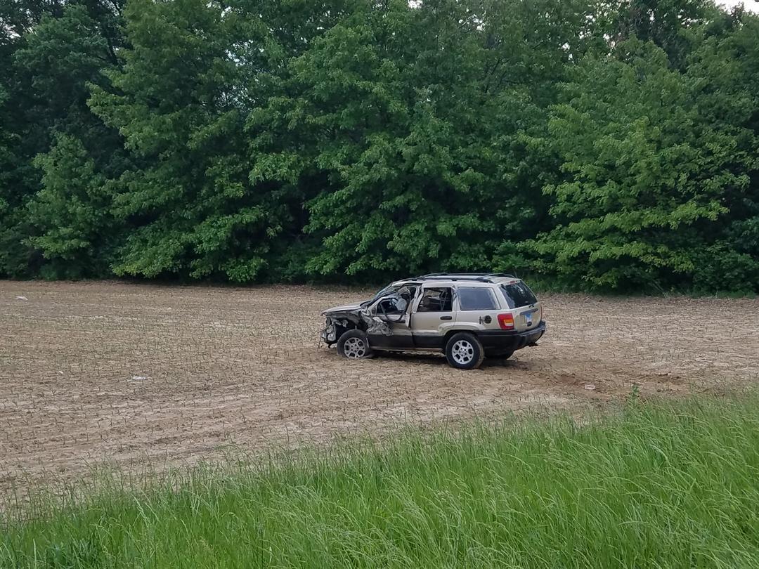 SUV damaged during the crash.