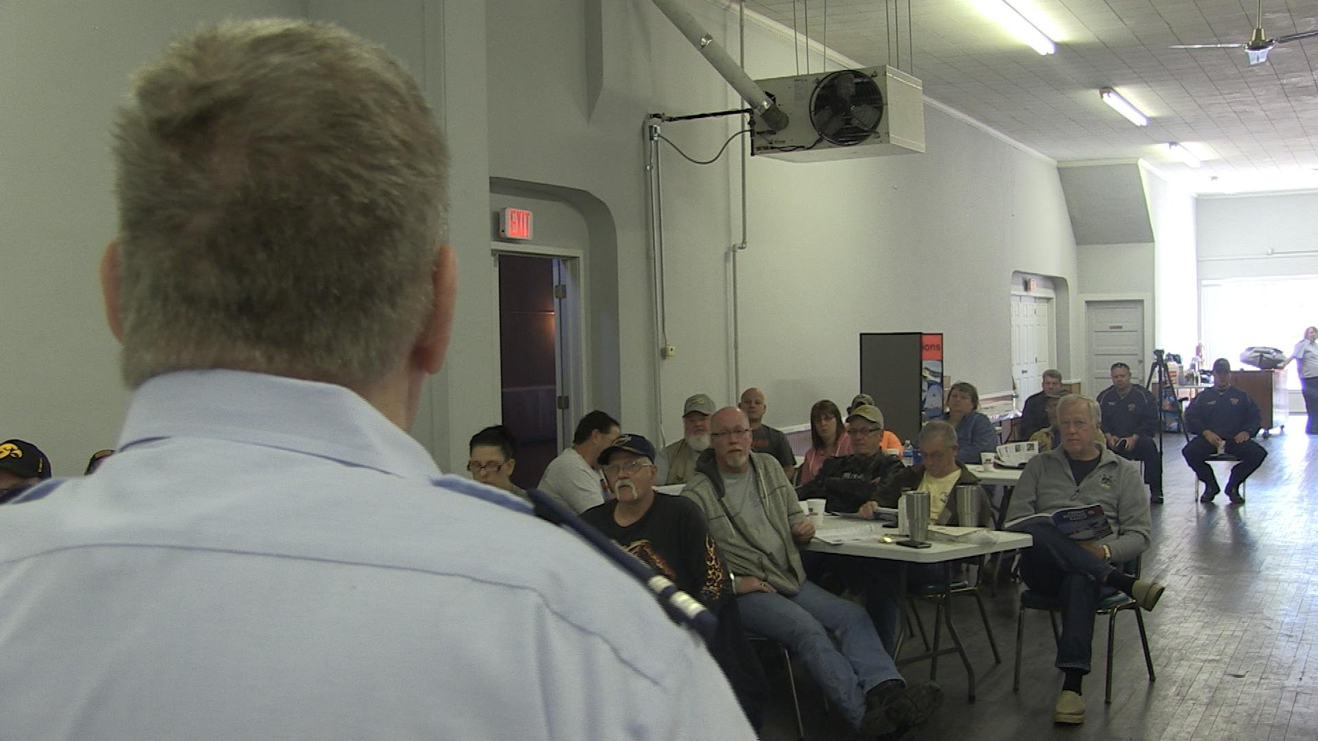 A U.S. Coast Guard Auxiliary member speaks to roughly 50 boaters at a safety class in Keokuk in April.