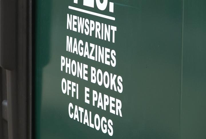 Items that can be thrown in the bin include newspaper, magazines,  phone books,  catalogs and office paper