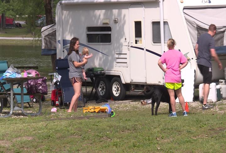 Residents prepare their camper at Wakonda State Park.
