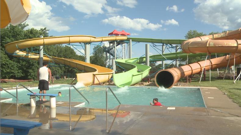 Slides at the renovated Splash Landing Water Park