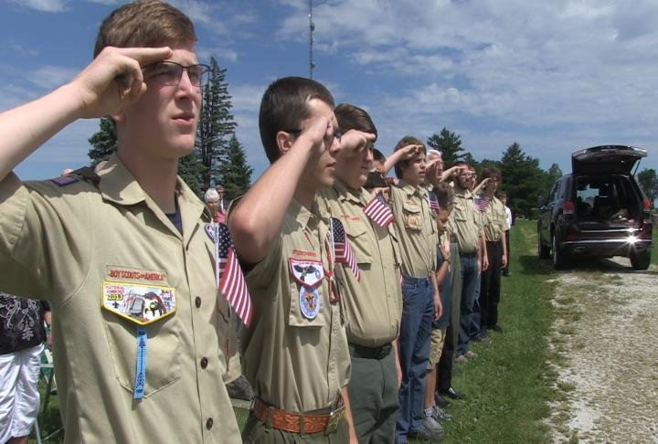 Boy Scouts attending the ceremony.