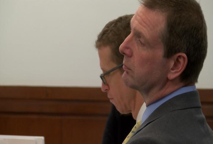 Curtis Lovelace (right) and his attorney Jon Loevy during the retrial.