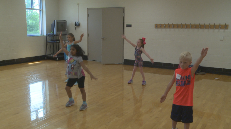 "Children dance in the ""Jump and Jive"" class."
