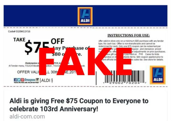 Fake ALDI coupon.