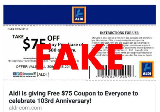 Fake ALDI coupon.