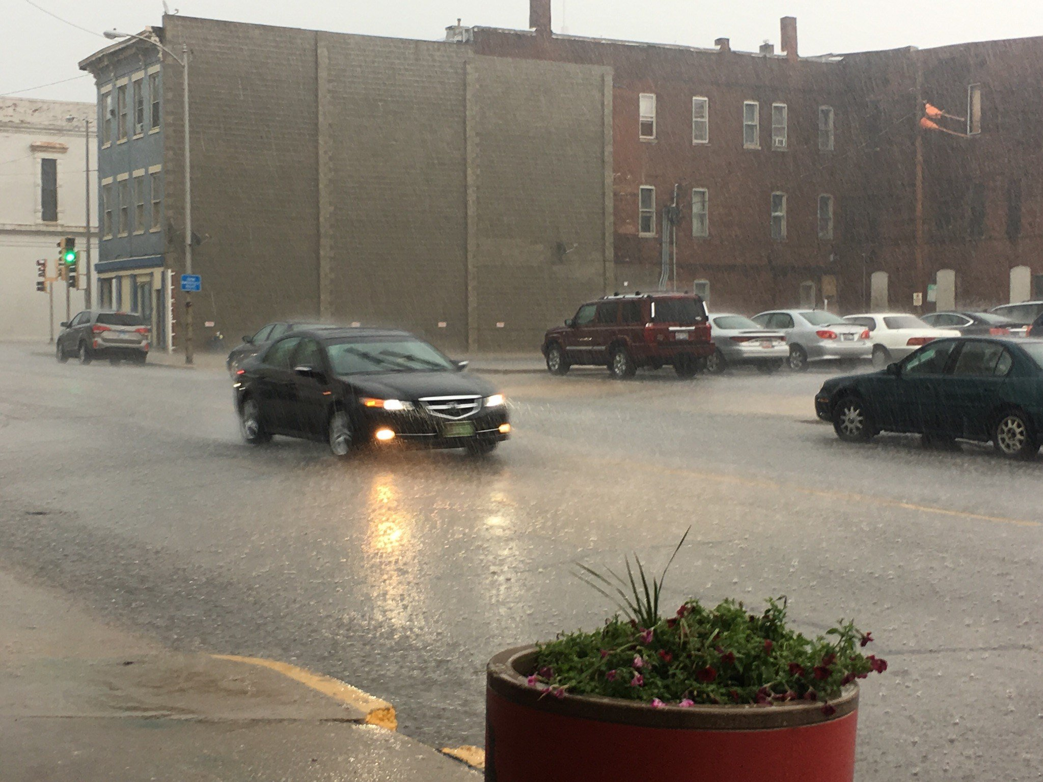 Heavy rain Wednesday afternoon in downtown Quincy.