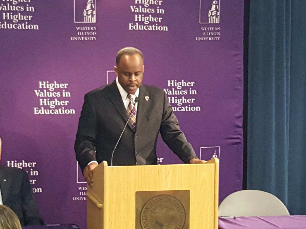 President Jack Thomas describing his strategic plan at a press conference on Wednesday