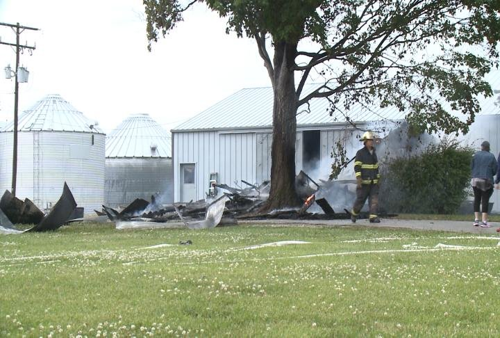 Garage burnt to the ground following a lightning strike.