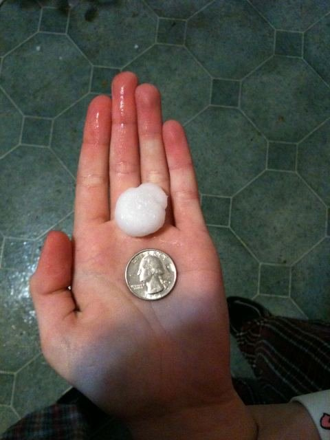 User-submitted photo of quarter-sized hail near Camp Point, Illinois.