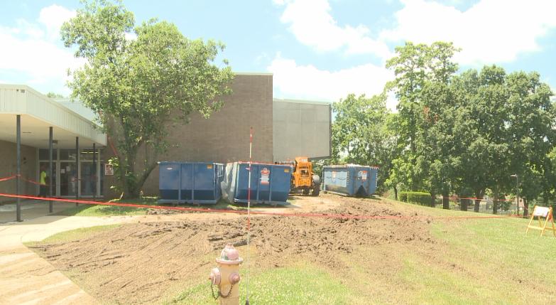 The demolition site at Baldwin Intermediate School
