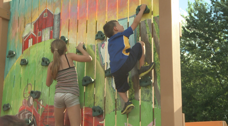 The park includes a rock climbing wall.