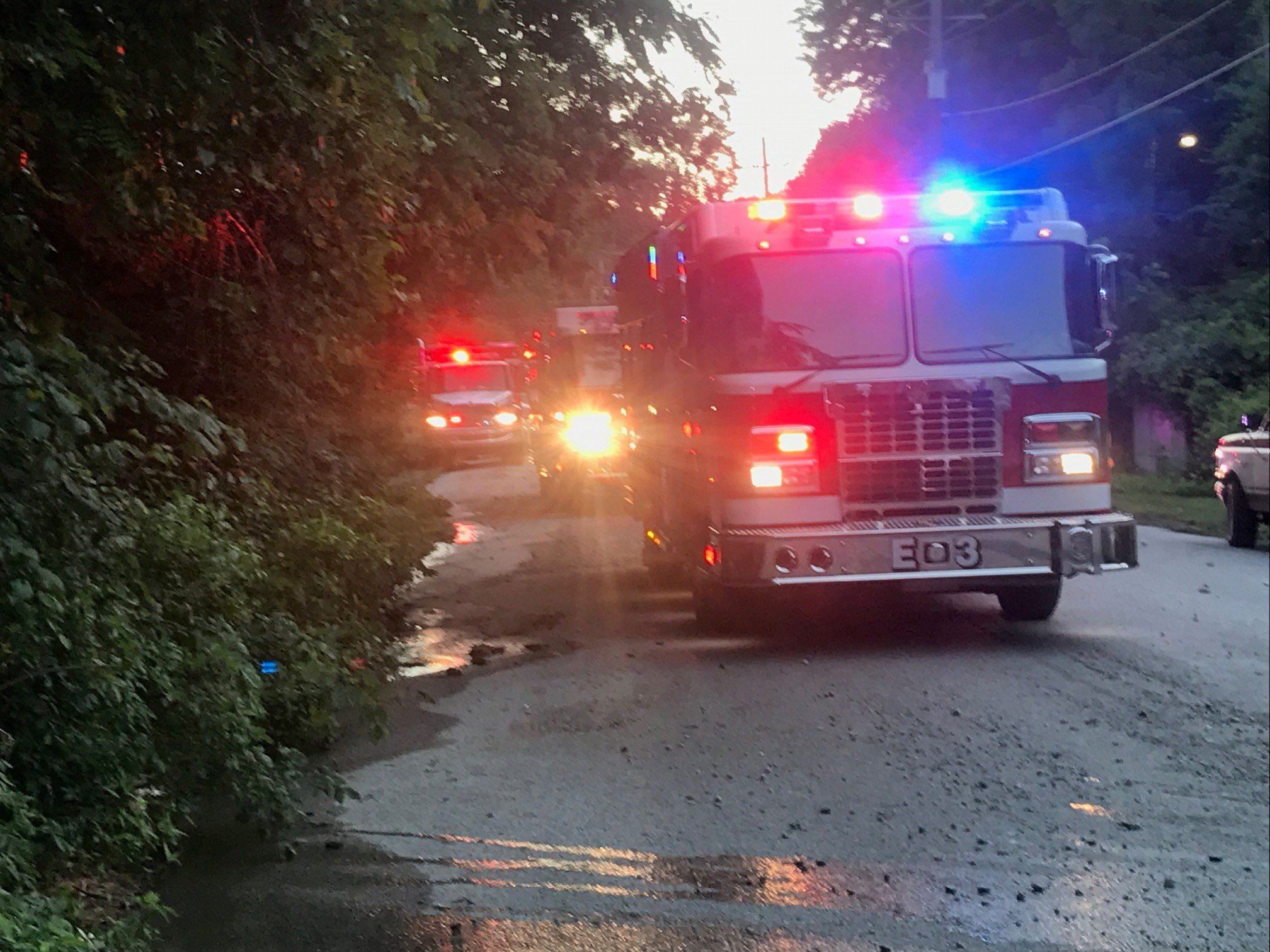 Fire trucks on scene