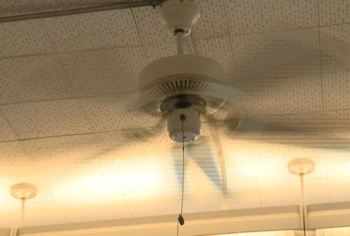 Many classrooms are without air conditioning in the two buildings.
