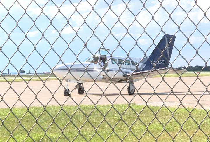 A plane waits for takeoff.