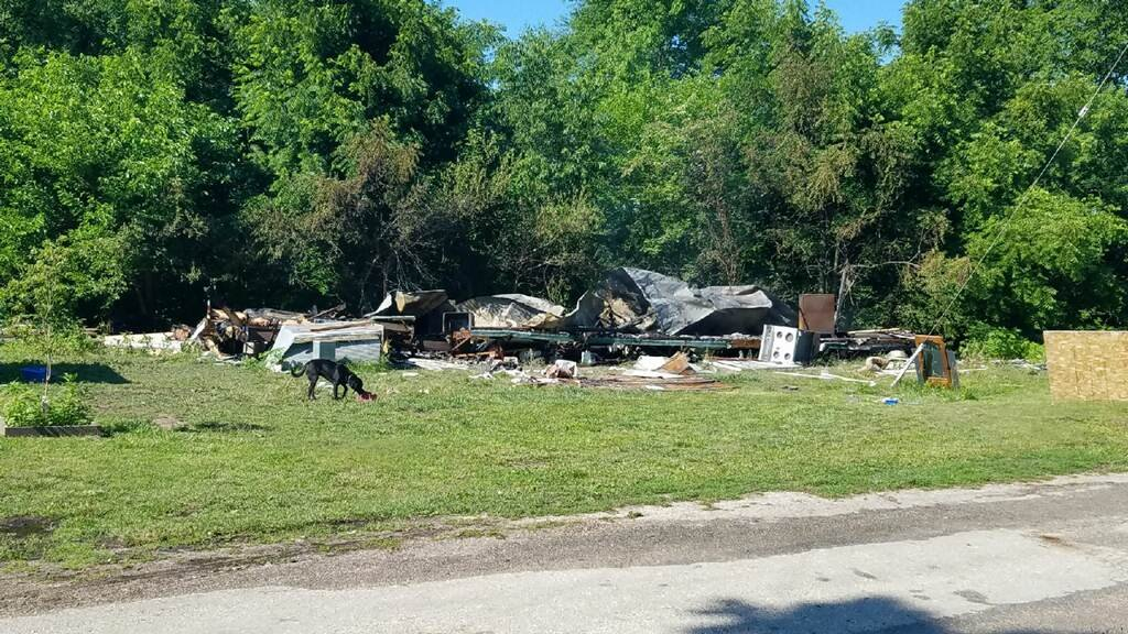 Mobile home burned to the ground.