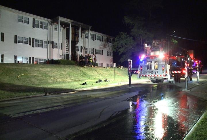 Crews at the scene of the apartment building fire Monday night.