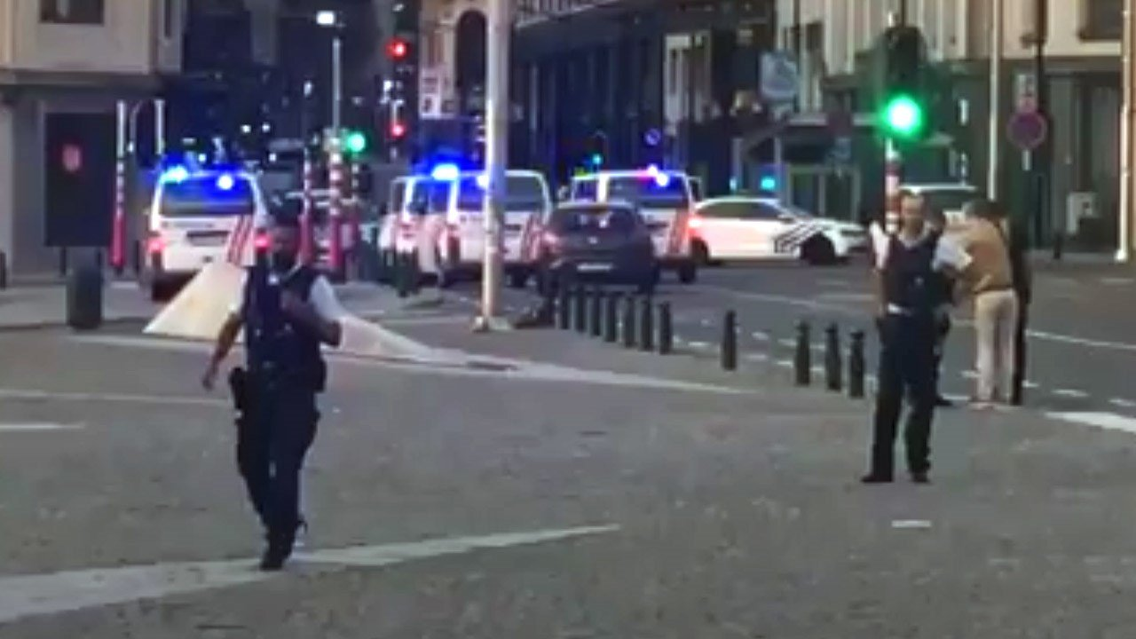 Police at the scene of the explosion.