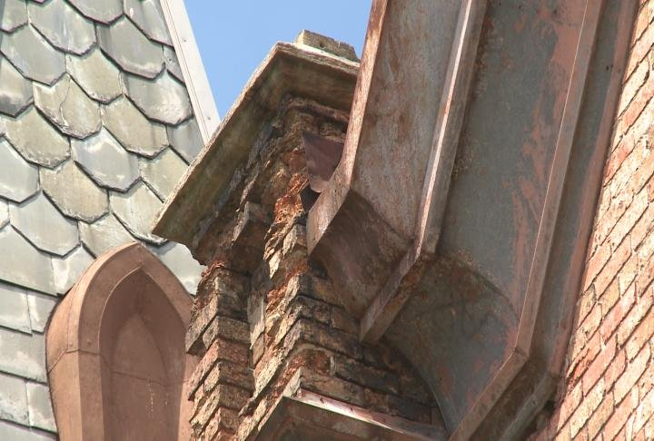 Officials worry about bricks falling from the roof and structure.