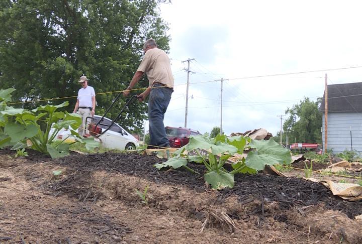 Volunteers working on garden