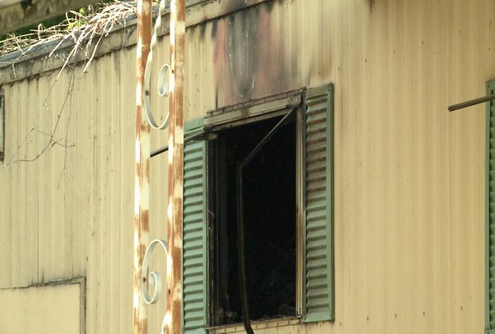 Smoke damage out back window.