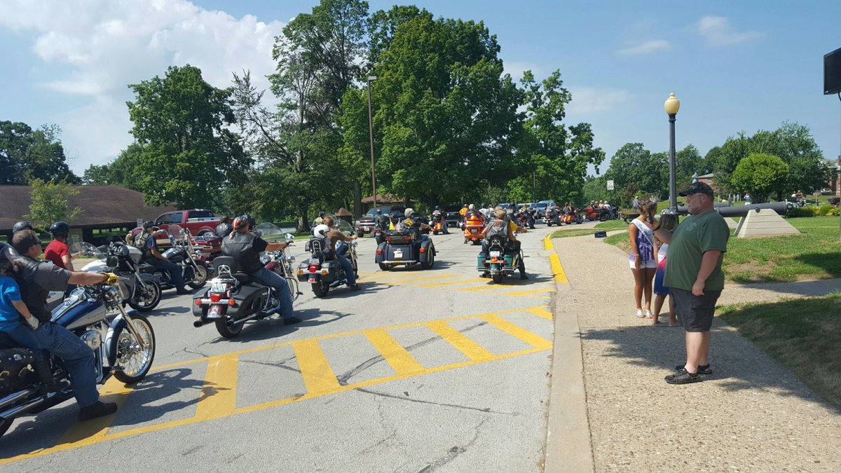 Bikers arriving at the veterans home from Springfield, Illinois