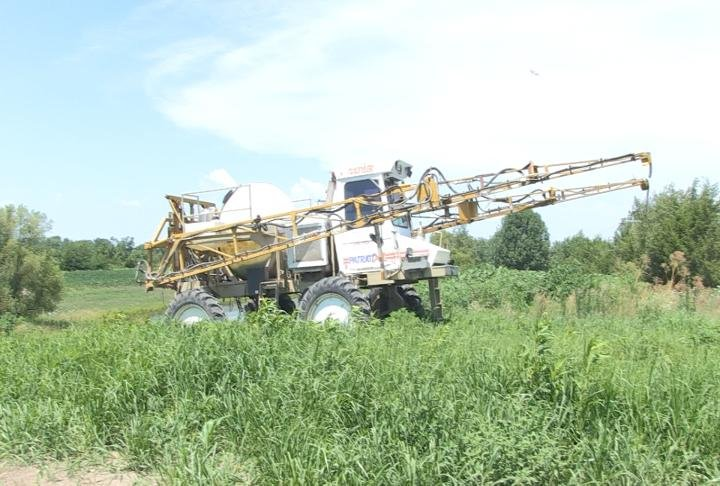 A chemical sprayer in a bean field in Marion County, Missouri